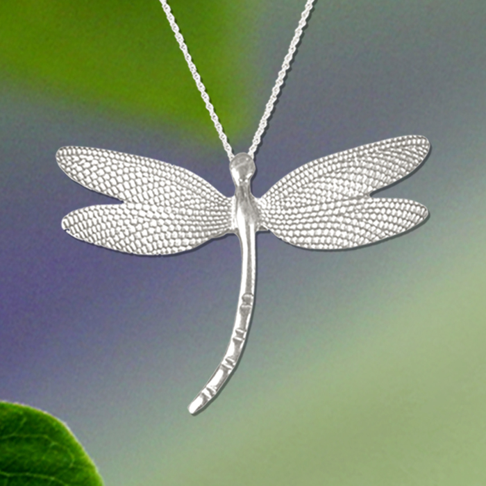 Lace Wing Dragonfly Pewter Pendant by Mykonos